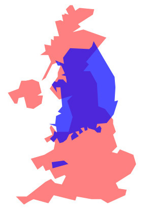 Korea's size overlayed over the United Kingdom