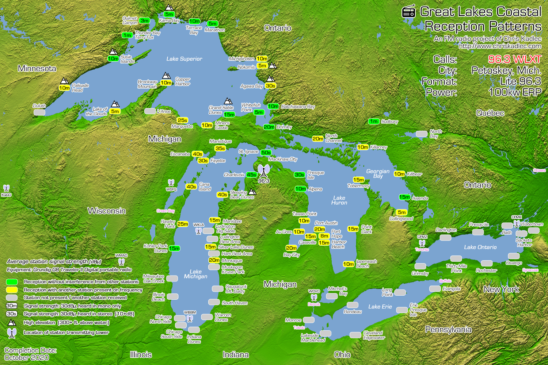 96.3 WLXT Petoskey, Mich. Reception Map